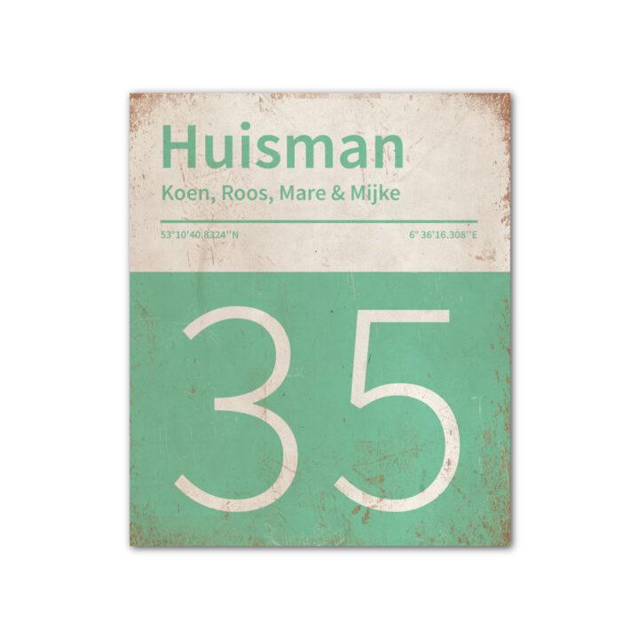 Naambord-Huisman-22-vlakken-nummer-onder-Koenmeloen-mint-wit