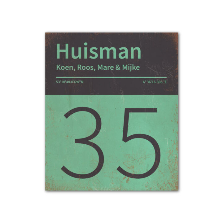 Naambord-Huisman-22-vlakken-nummer-onder-Koenmeloen--mint-zwart