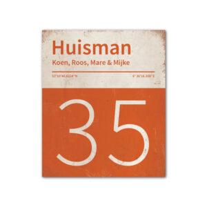 Naambord-Huisman-22-vlakken-nummer-onder-Koenmeloen--oranje-wit