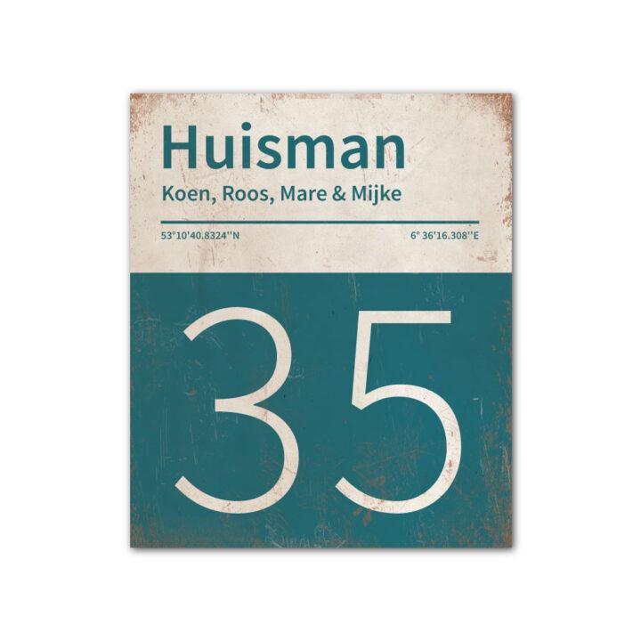 Naambord-Huisman-22-vlakken-nummer-onder-Koenmeloen--petrol-blue-wit