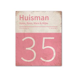Naambord-Huisman-22-vlakken-nummer-onder-Koenmeloen--roze-wit
