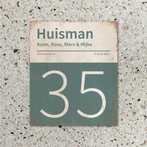 Naambord-Huisman-22-vlakken-nummer-onder-Koenmeloen--wit-grijsgroen