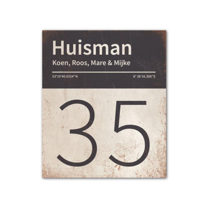 Naambord-Huisman-22-vlakken-nummer-onder-Koenmeloen--wit-antraciet