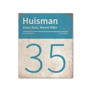 Naambord-Huisman-22-vlakken-nummer-onder-Koenmeloen--wit-blauw