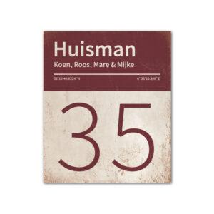 Naambord-Huisman-22-vlakken-nummer-onder-Koenmeloen--wit-bordeaux-rood