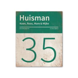 Naambord-Huisman-22-vlakken-nummer-onder-Koenmeloen--wit-donkergroen