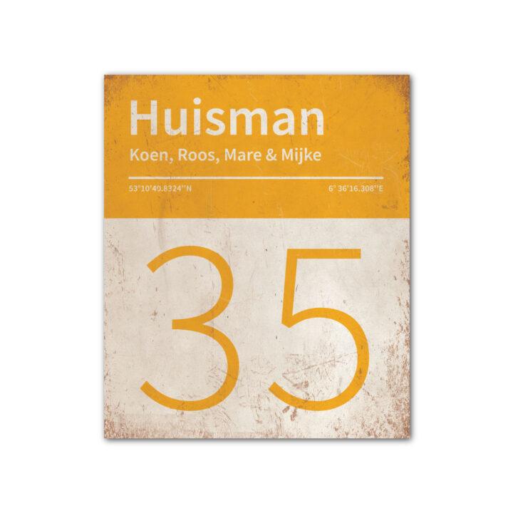 Naambord-Huisman-22-vlakken-nummer-onder-Koenmeloen--wit-geel