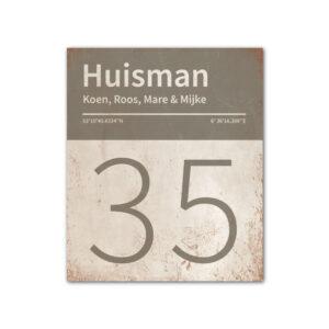 Naambord-Huisman-22-vlakken-nummer-onder-Koenmeloen--wit-grijs