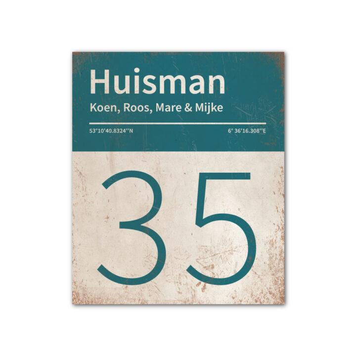 Naambord-Huisman-22-vlakken-nummer-onder-Koenmeloen--wit-petrol-blue