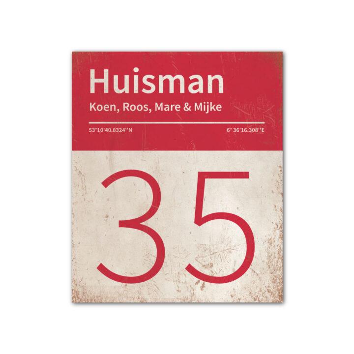 Naambord-Huisman-22-vlakken-nummer-onder-Koenmeloen--wit-rood