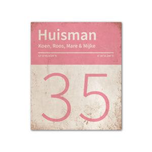 Naambord-Huisman-22-vlakken-nummer-onder-Koenmeloen--wit-roze