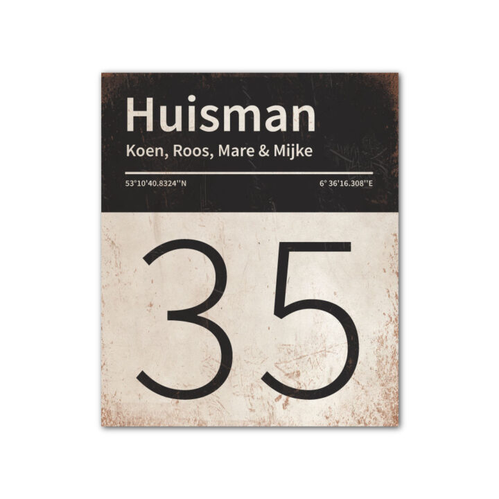 Naambord-Huisman-22-vlakken-nummer-onder-Koenmeloen--wit-zwart