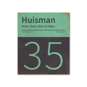 Naambord-Huisman-22-vlakken-nummer-onder-Koenmeloen--zwart-mint
