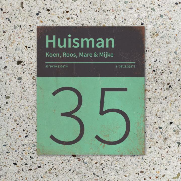 Naambord-Huisman-22-vlakken-nummer-onder-Koenmeloen--zwart-mint-muur