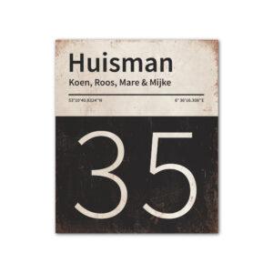 Naambord-Huisman-22-vlakken-nummer-onder-Koenmeloen--zwart-wit