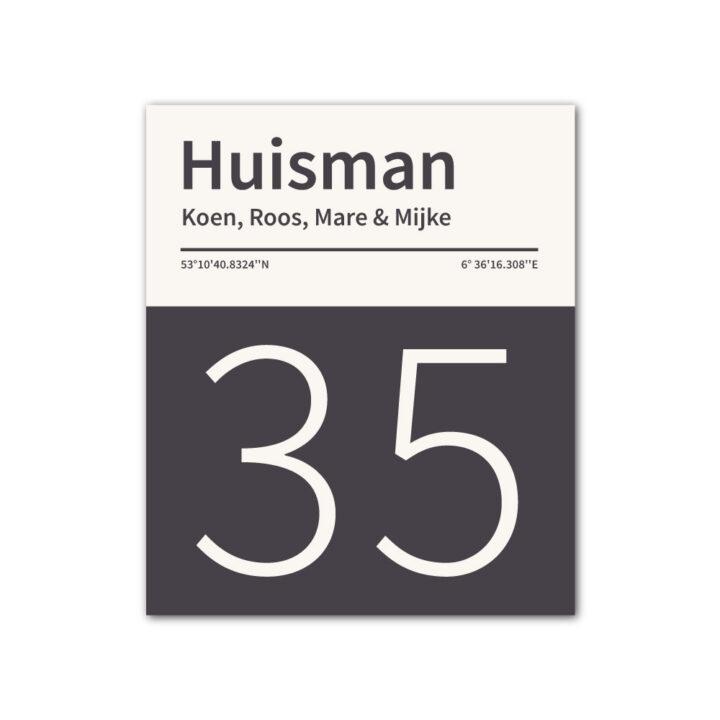 Naambord-Huisman-22-vlakken-nummer-onder-geen-roest-Koenmeloen--antraciet-wit