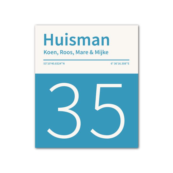 Naambord-Huisman-22-vlakken-nummer-onder-geen-roest-Koenmeloen--blauw-wit