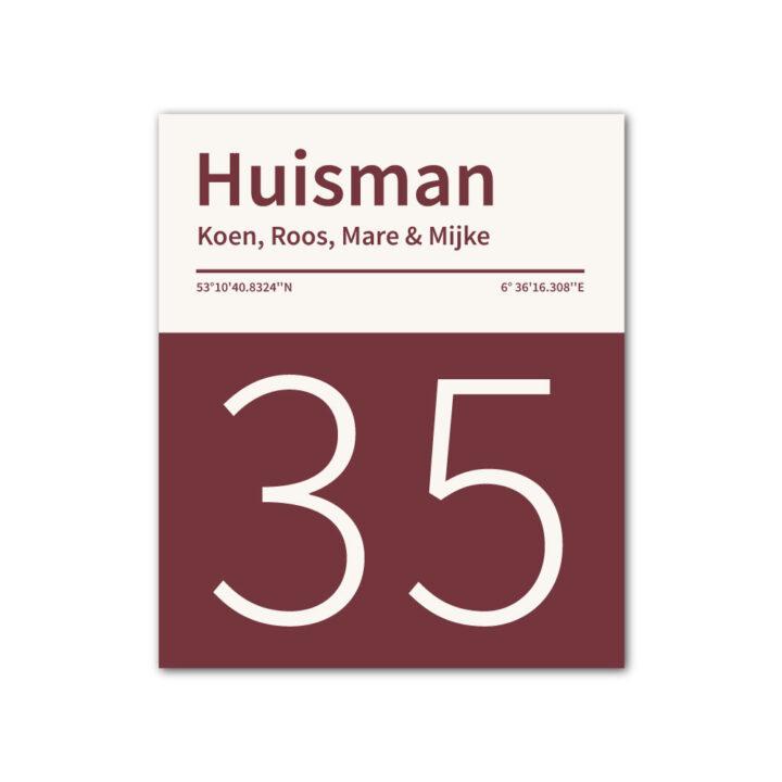 Naambord-Huisman-22-vlakken-nummer-onder-geen-roest-Koenmeloen--bordeaux-rood wit