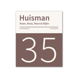 Naambord-Huisman-22-vlakken-nummer-onder-geen-roest-Koenmeloen--bruin-wit