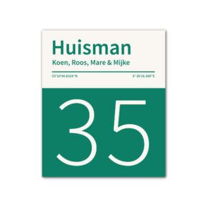 Naambord-Huisman-22-vlakken-nummer-onder-geen-roest-Koenmeloen--donker-groen-wit