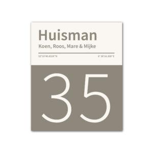 Naambord-Huisman-22-vlakken-nummer-onder-geen-roest-Koenmeloen--grijs-wit