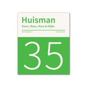Naambord-Huisman-22-vlakken-nummer-onder-Koenmeloen--wit-groen