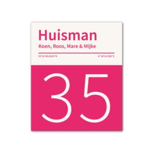 Naambord-Huisman-22-vlakken-nummer-onder-geen-roest-Koenmeloen--knalroze-wit