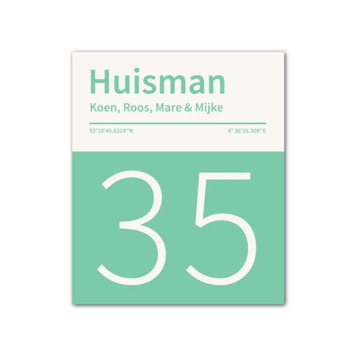 Naambord-Huisman-22-vlakken-nummer-onder-geen-roest-Koenmeloen--mint-wit