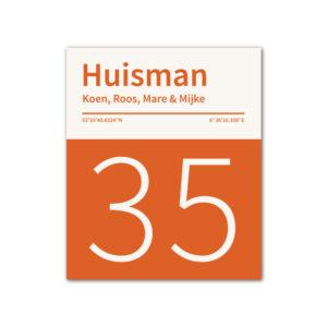 Naambord-Huisman-22-vlakken-nummer-onder-geen-roest-Koenmeloen-oranje wit