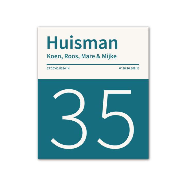 Naambord-Huisman-22-vlakken-nummer-onder-geen-roest-Koenmeloen--petrol-blue-wit