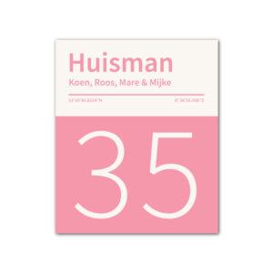 Naambord-Huisman-22-vlakken-nummer-onder-geen-roest-Koenmeloen--roze-wit