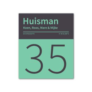 Naambord-Huisman-22-vlakken-nummer-onder-geen-roest-Koenmeloen--zwart-mint