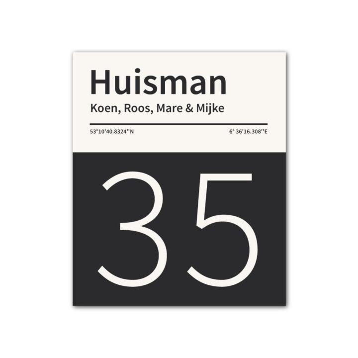 Naambord-Huisman-22-vlakken-nummer-onder-geen-roest-Koenmeloen--zwart-wit