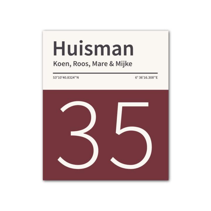 Naambord-Huisman-22-vlakken-nummer-onder-geen-roest-zwarte-tekst-Koenmeloen-boradeaux-rood-wit
