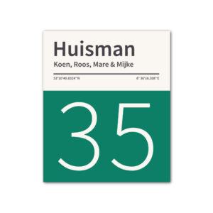 Naambord-Huisman-22-vlakken-nummer-onder-geen-roest-zwarte-tekst-Koenmeloen--donker-groen-wit