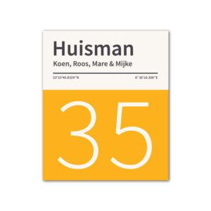 Naambord-Huisman-22-vlakken-nummer-onder-geen-roest-zwarte-tekst-Koenmeloen--geel-wit