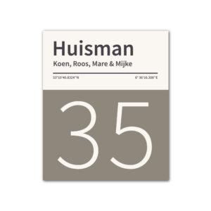 Naambord-Huisman-22-vlakken-nummer-onder-geen-roest-zwarte-tekst-Koenmeloen--grijs-wit