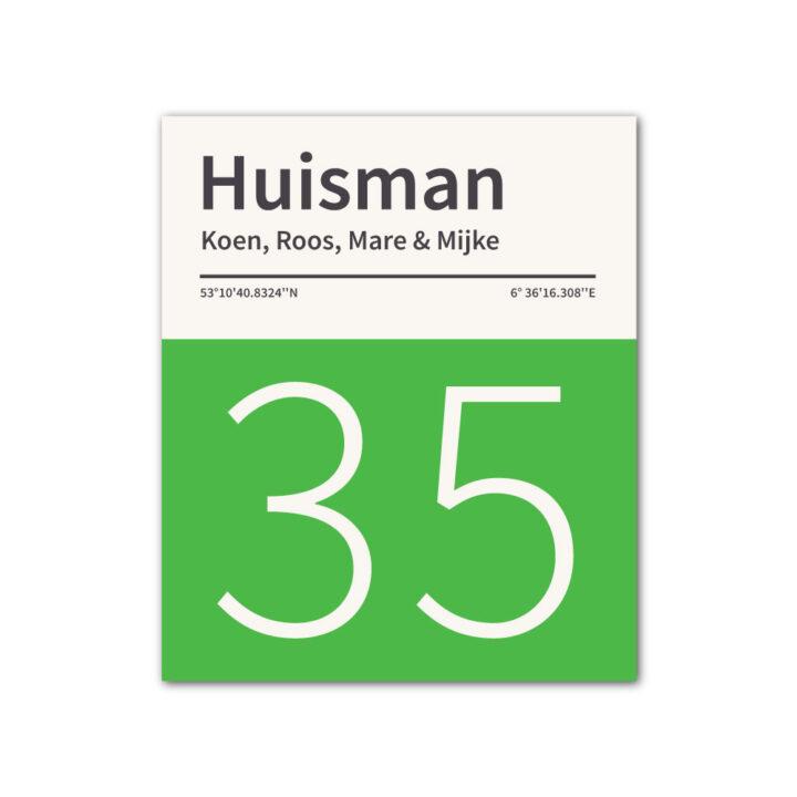 Naambord-Huisman-22-vlakken-nummer-onder-geen-roest-zwarte-tekst-Koenmeloen--groen-wit