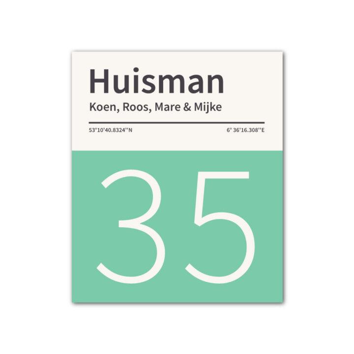 Naambord-Huisman-22-vlakken-nummer-onder-geen-roest-zwarte-tekst-Koenmeloen-mint-wit