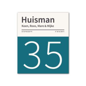 Naambord-Huisman-22-vlakken-nummer-onder-geen-roest-zwarte-tekst-Koenmeloen--petrol-blue-wit