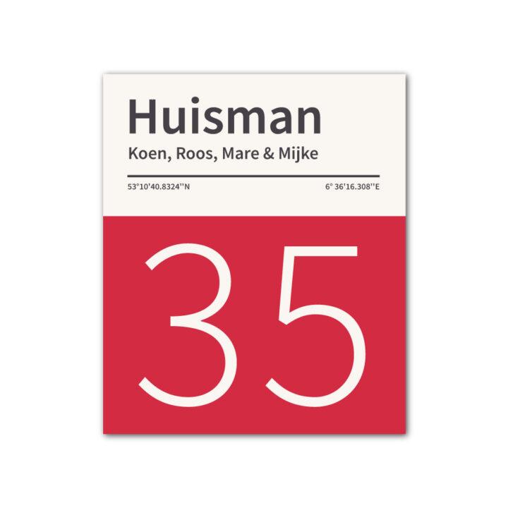Naambord-Huisman-22-vlakken-nummer-onder-geen-roest-zwarte-tekst-Koenmeloen--rood-wit