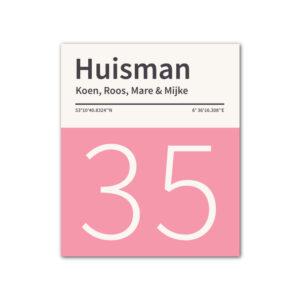 Naambord-Huisman-22-vlakken-nummer-onder-geen-roest-zwarte-tekst-Koenmeloen-roze-wit