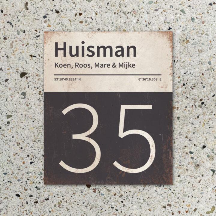 Naambord-Huisman-22-vlakken-nummer-onder-Koenmeloen--antraciet-wit