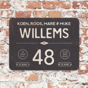 Naambord-Willems-koenmeloen-antraciet-wit