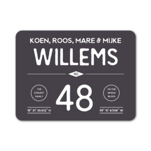 Naambord-Willems-koenmeloen-antraciet-wit