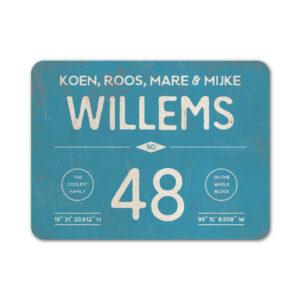 Naambord-Willems-koenmeloen-blauw-wit