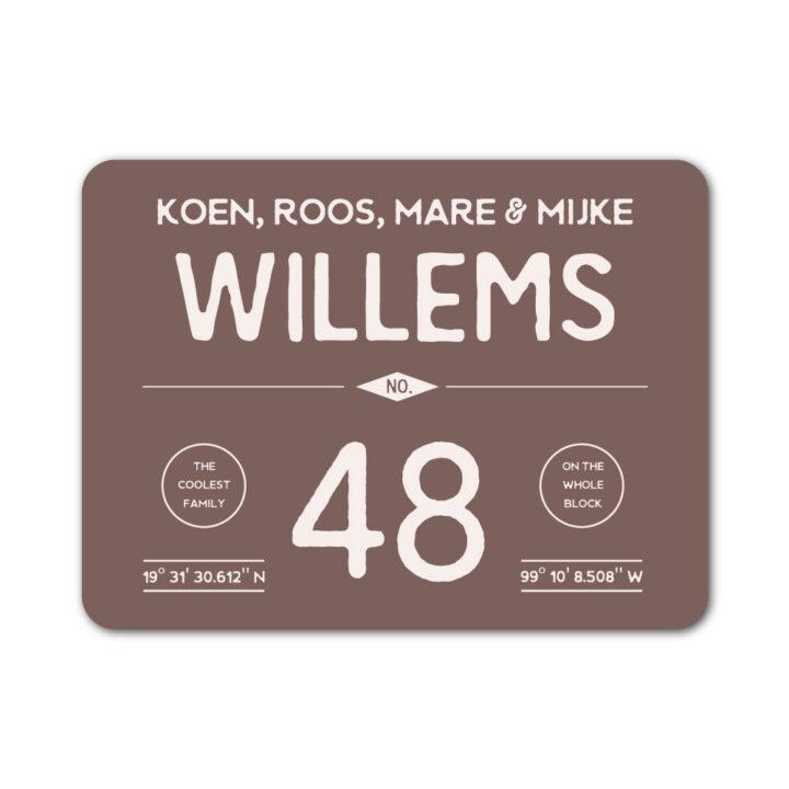 Naambord-Willems-koenmeloen-bruin-wit