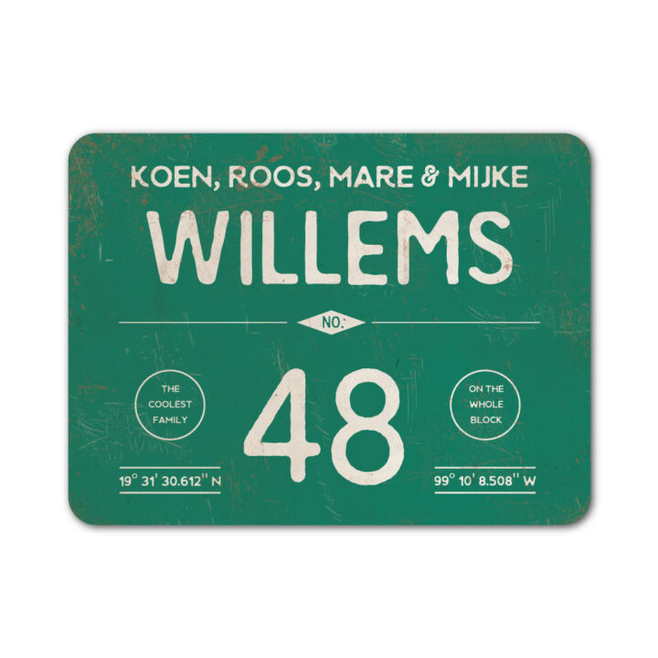 Naambord-Willems-koenmeloen-donkergroen-wit
