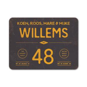 Naambord-Willems-koenmeloen-zwart-geel
