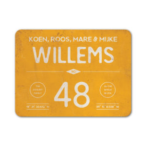 Naambord-Willems-koenmeloen-geel-wit